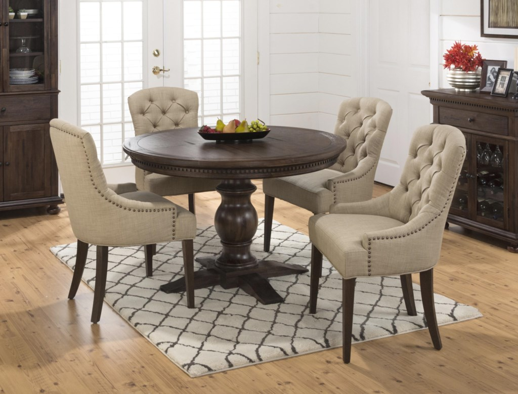 jofran evelyn 5-piece dining table and upholstered chair set