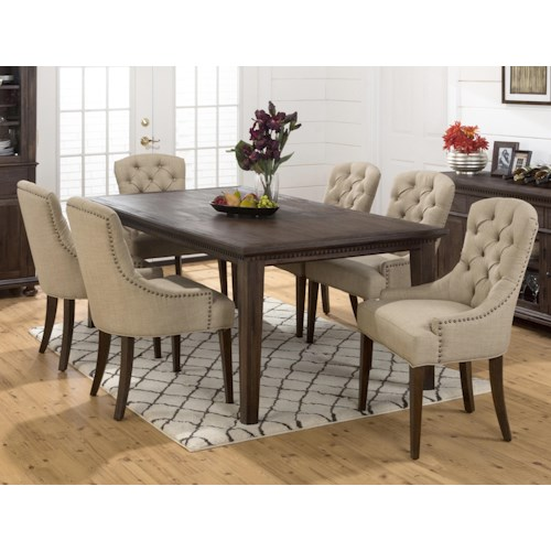 Jofran Evelyn Large Table and Upholstered Chair Set