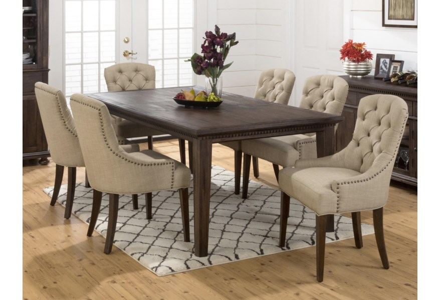 Geneva Hills Large Table and Upholstered Chair Set by Jofran at Dunk &  Bright Furniture
