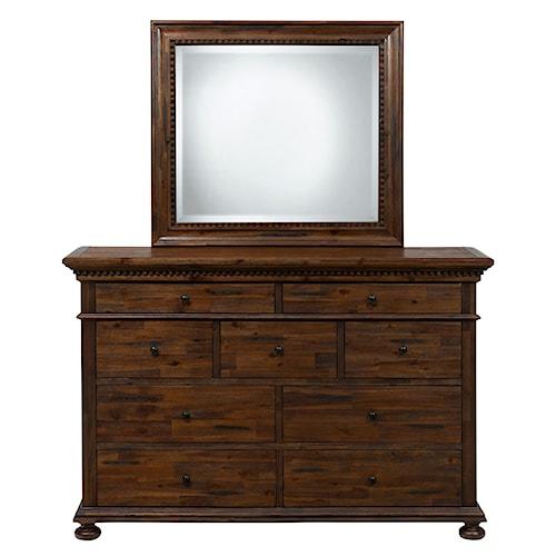Jofran Geneva Hills Dresser with 9 Drawers and Mirror Set