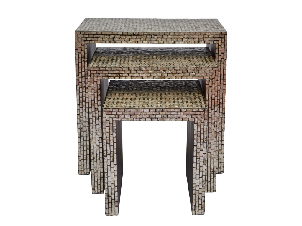 Jofran Global ArchiveSet of 3 Capiz Basket Weave Nesting Tables