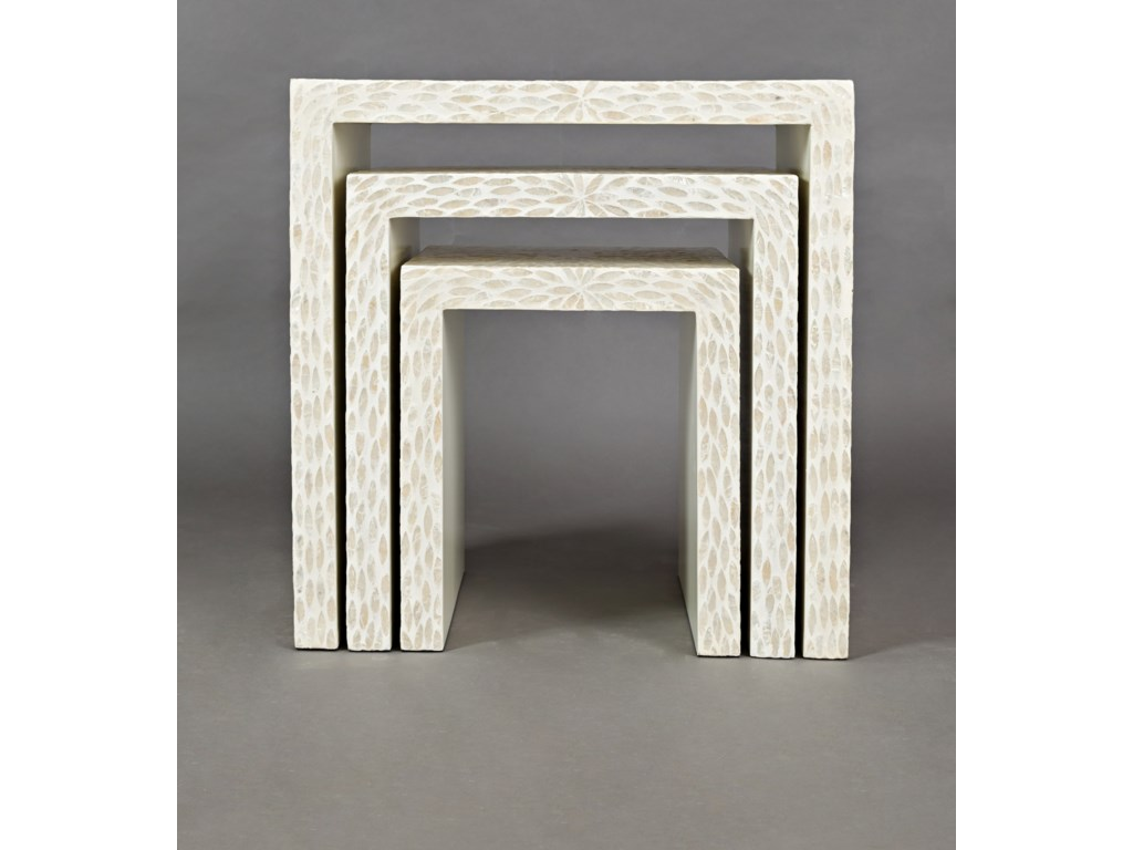 Jofran Global ArchiveSet of 3 Capiz Basket Weave Nesting Tables