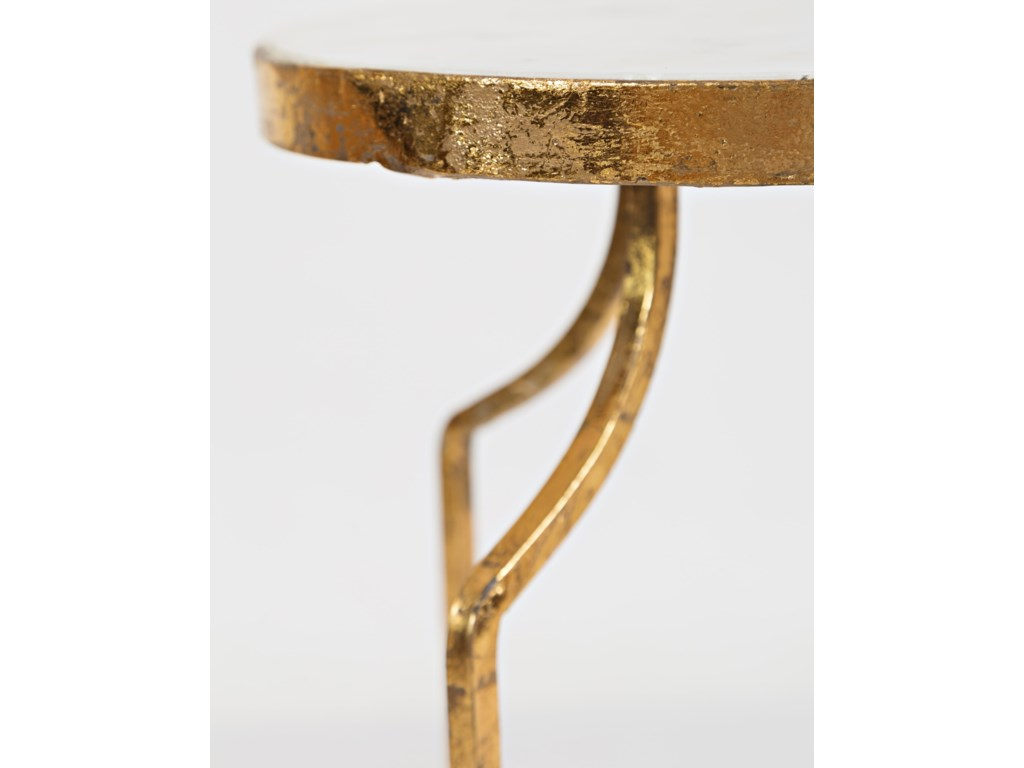 Jofran Global ArchiveMarble and Gold Round Accent Table