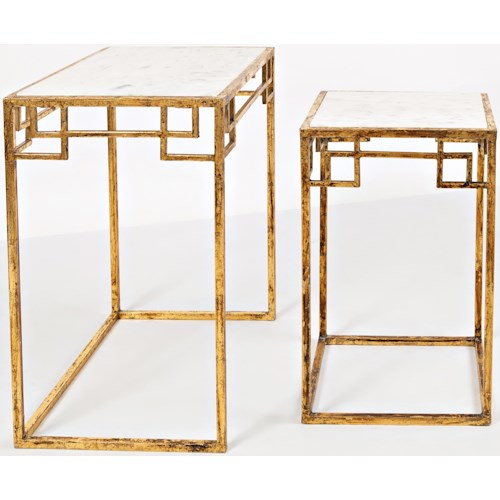 Jofran Global Archive Marble and Matte Gold Nesting Tables (Set of 2)
