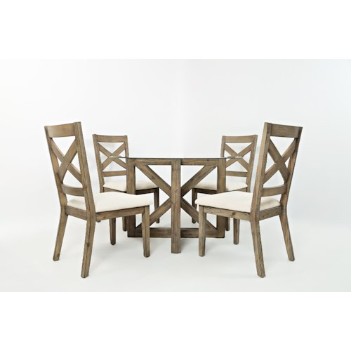 Jofran Hamden 5PC Round Glass-Top Dining Table and Chair Set