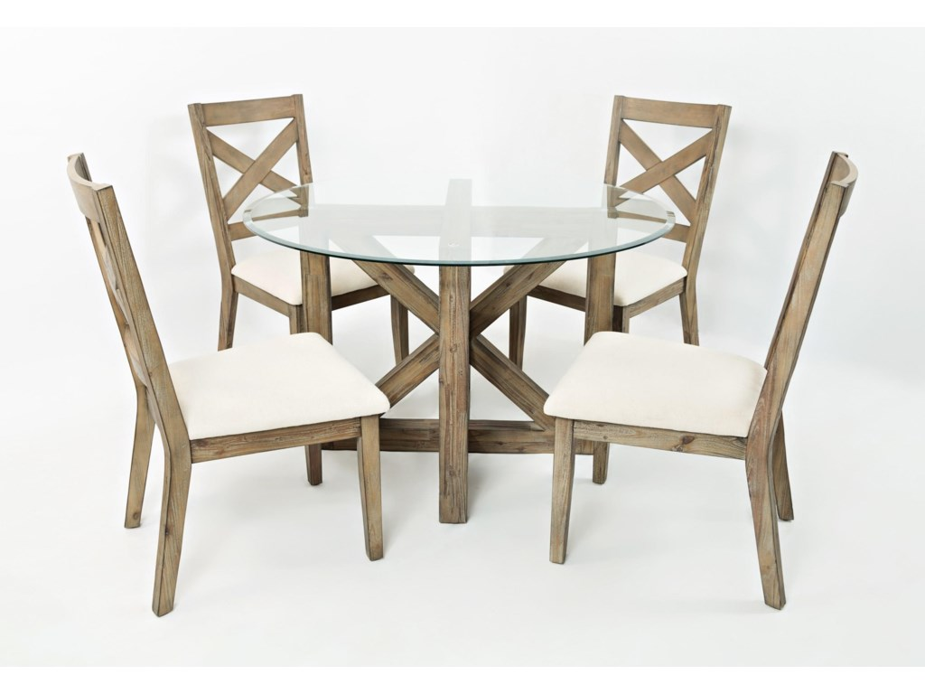 Hamden 5pc Round Glass Top Dining Table And Chair Set By Jofran At Rotmans
