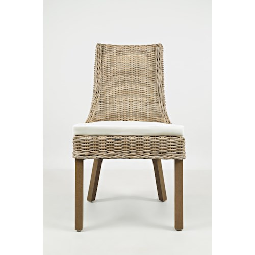 Jofran Hampton Road Transitional Rattan Dining Chair with Cushion