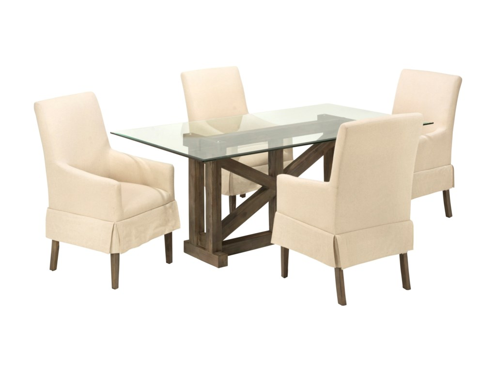 Jofran Hampton RoadGlass Top Table with Four Chairs