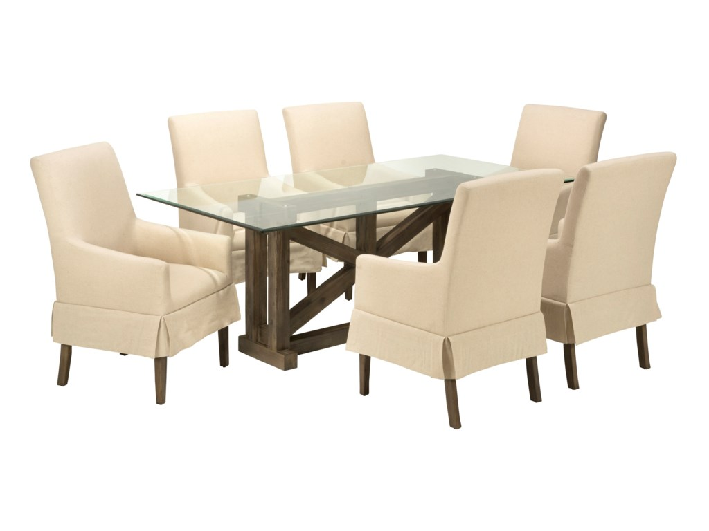 Jofran Hampton RoadGlass Top Table with Six Chairs