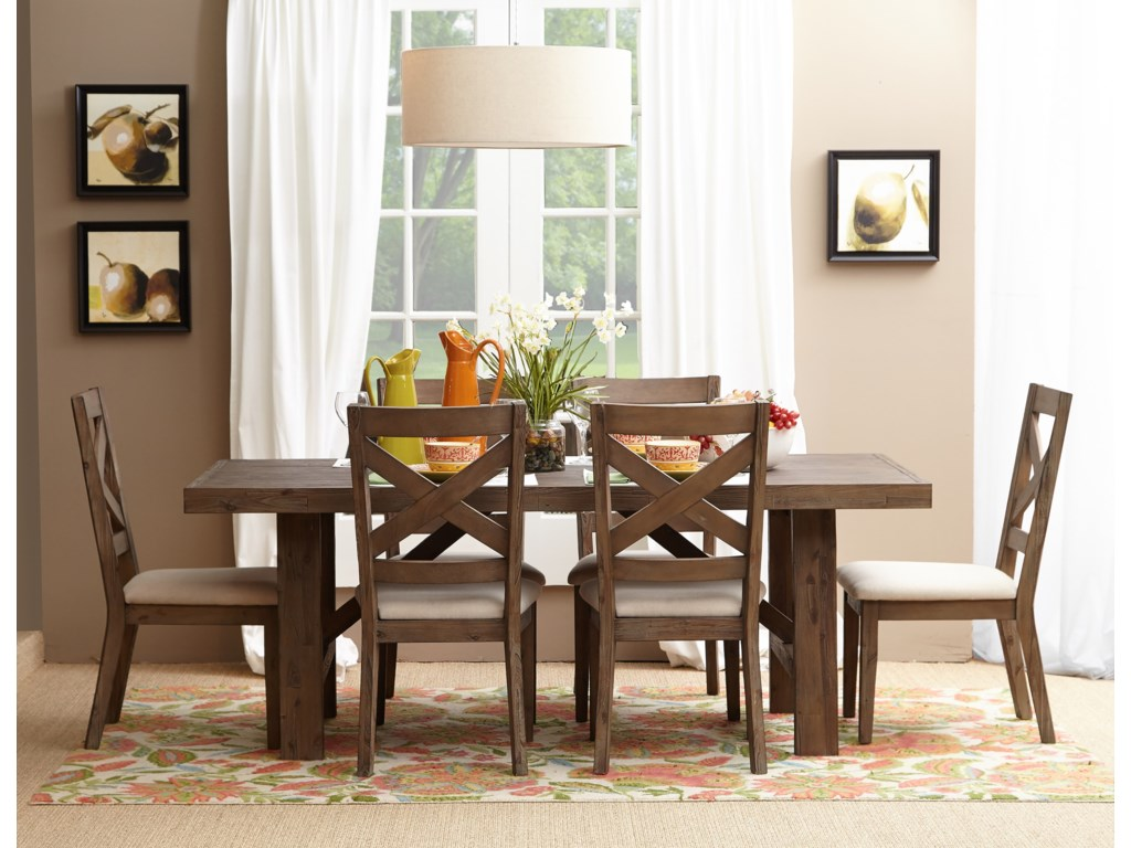 Belfort Essentials Hampton Road Trestle Dining Table and Chair Set ...