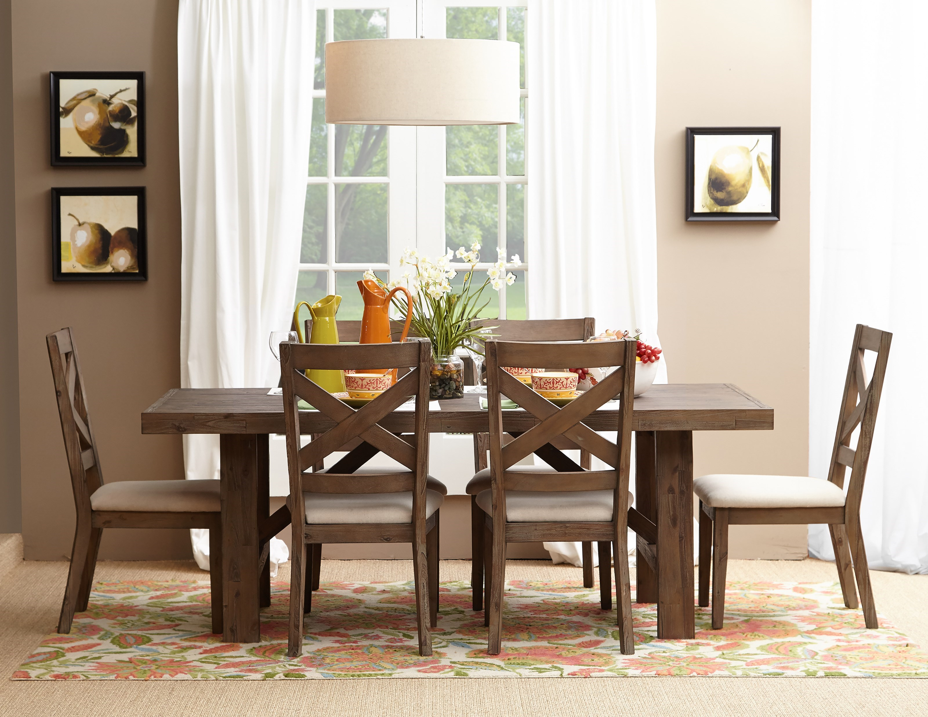 Belfort Essentials Hampton Road Trestle Dining Table And Chair Set
