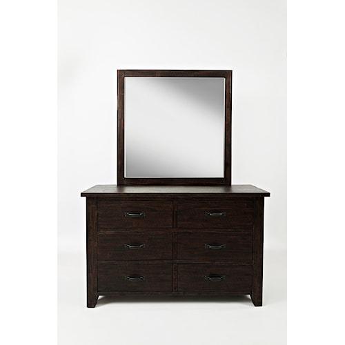 Jofran Jackson Lodge Double Dresser and Studio Mirror