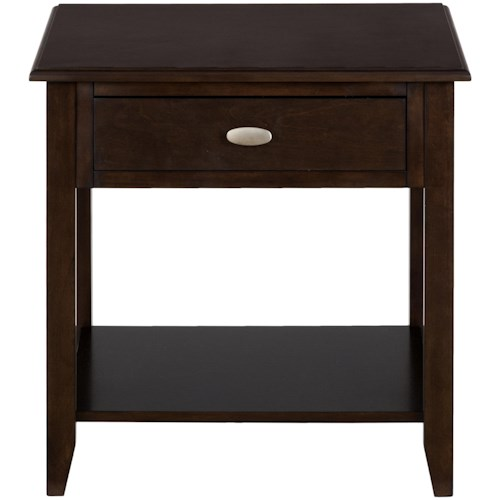 Jofran Merlot End Table with 1 Drawer and Shelf