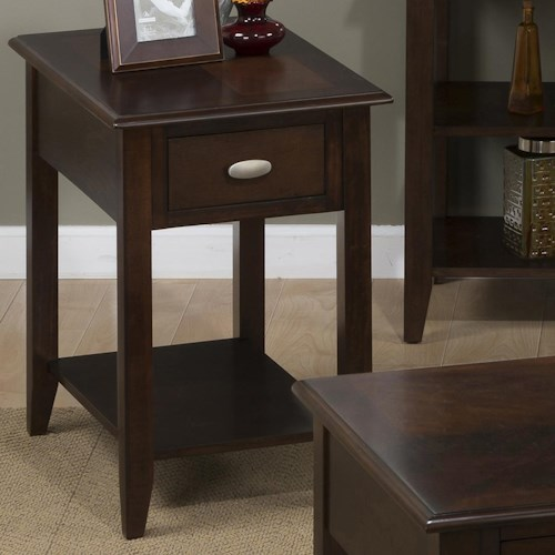 Jofran Merlot Chairside Table for Small Spaces