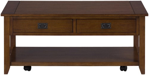 Jofran Mission Oak Castered Cocktail Table with 2 Pull-Thru Drawers