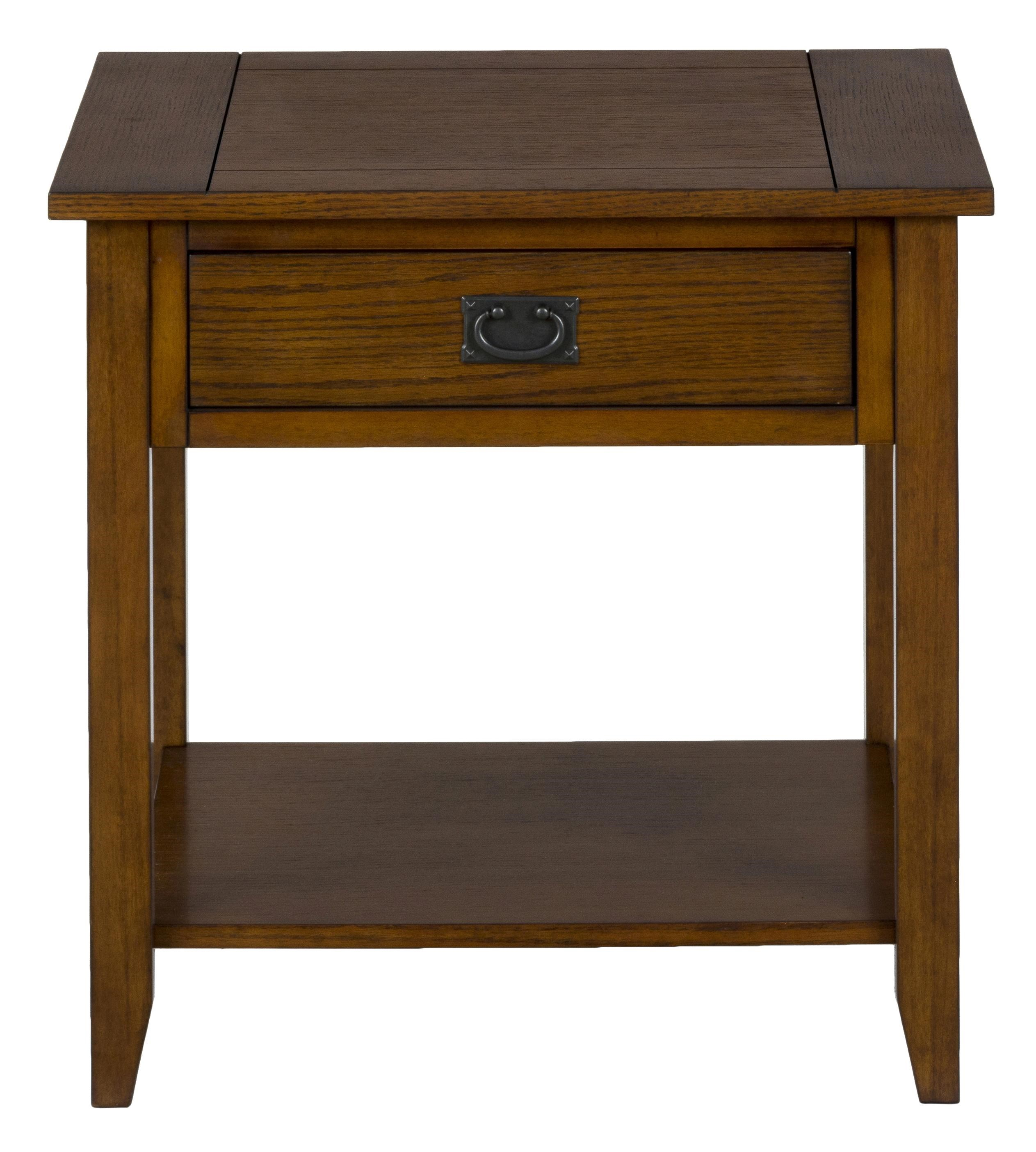 Jofran Mission Oak End Table With 1 Drawer And 1 Shelf