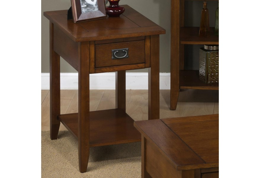 Mission Oak Chairside Table With 1 Drawer And 1 Shelf By Jofran At Vandrie Home Furnishings