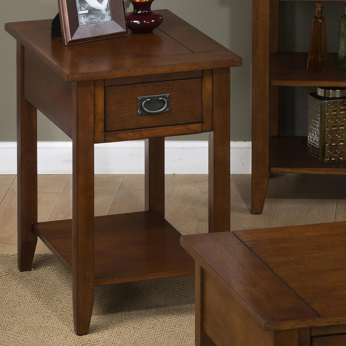 Jofran Mission Oak Chairside Table With 1 Drawer And 1 Shelf