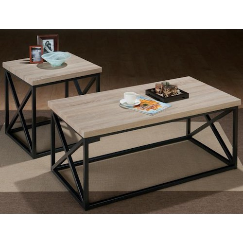 Jofran Orion Ash X Side 3 Pack Table Set with Tubular Steel and Techmetric Ash