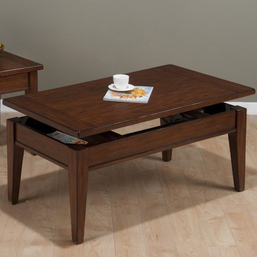 Jofran Dunbar Oak Casual Styled Lift Top Cocktail table with Oak Veneers
