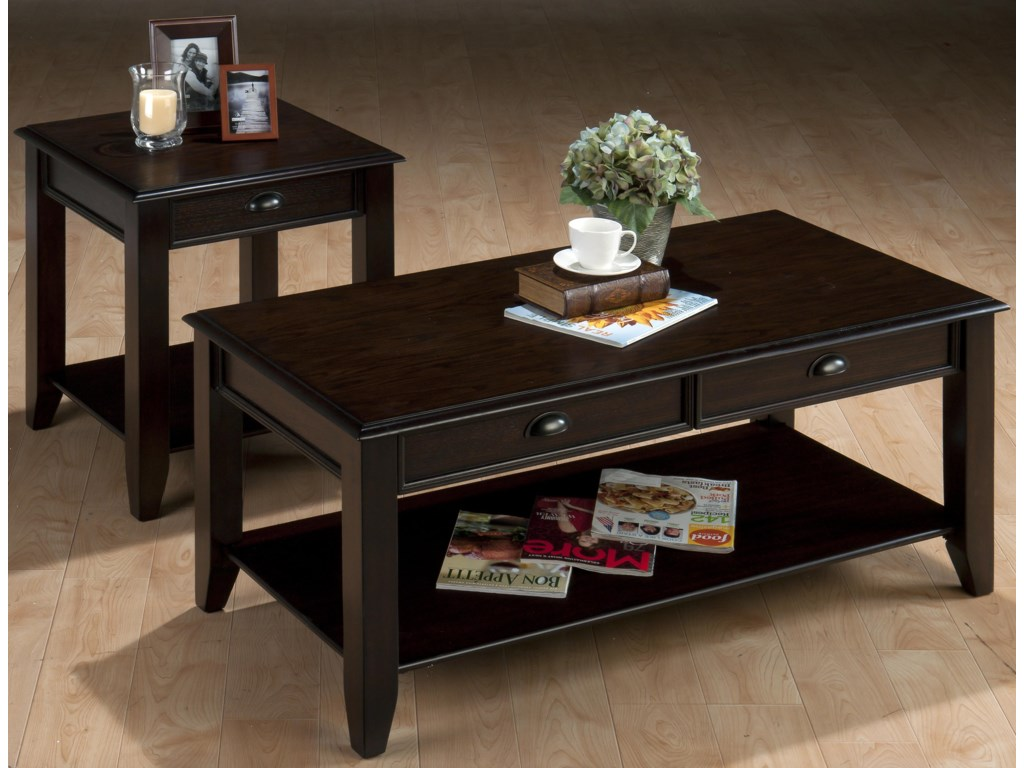 Jofran Bartley OakCocktail Table with Two Drawers