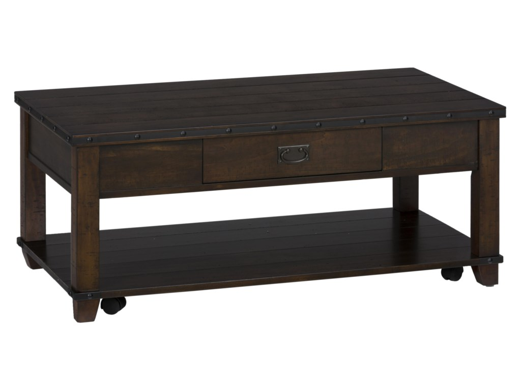 Jofran Cassidy BrownPlank Top Cocktail Table with Pull Thru Draw