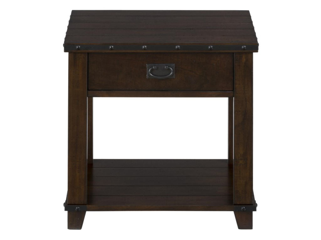 Jofran MariaPlank Top End Table with Drawer and Shelf