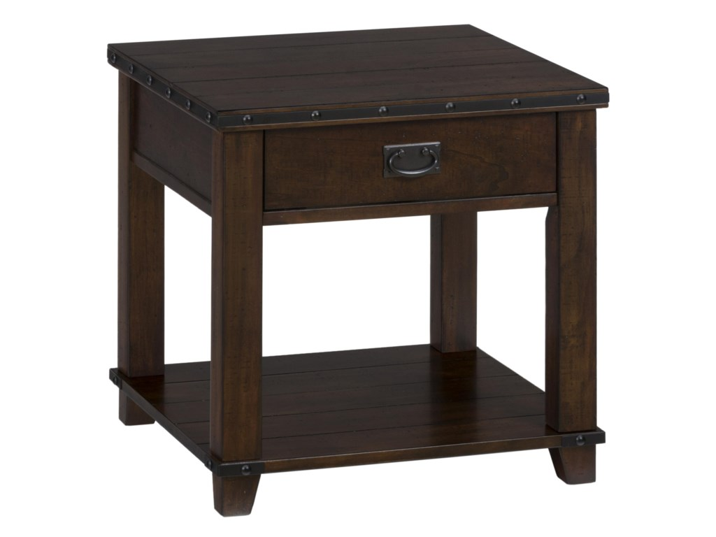 Jofran Cassidy BrownPlank Top End Table with Drawer and Shelf