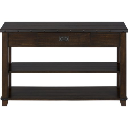Plank Top Sofa Table with Drawer and Shelves