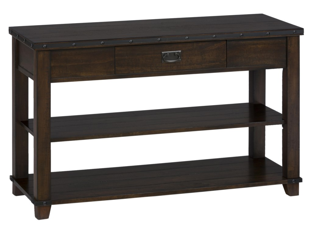 Jofran MariaPlank Top Sofa Table with Drawer and Shelves