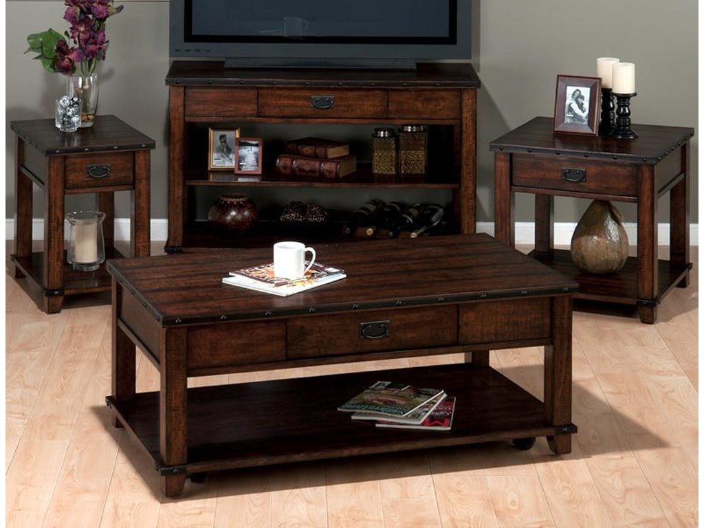 Jofran Cassidy BrownPlank Top Sofa Table with Drawer and Shelves