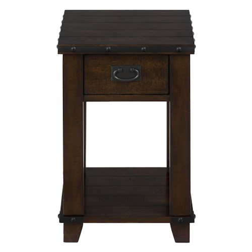 Jofran Cassidy Brown Traditional Plank Top Chairside Table with Drawer and Shelf