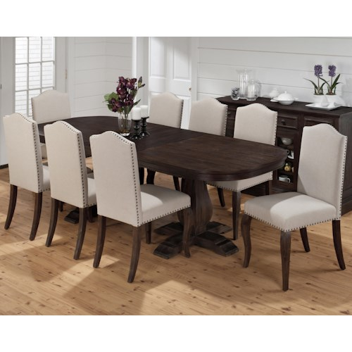 Jofran Grand Terrace Dining Table and Upholstered Chair Set