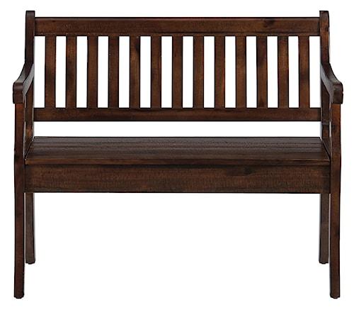 Jofran Urban Lodge Brown Storage Bench with Slat Back