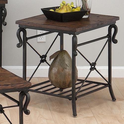 Jofran Rutledge Pine Rectangular End Table with Metal Slat Shelf