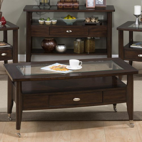 Jofran Montego Merlot Cocktail Table with Chrome Casters and Pull-Thru Drawer