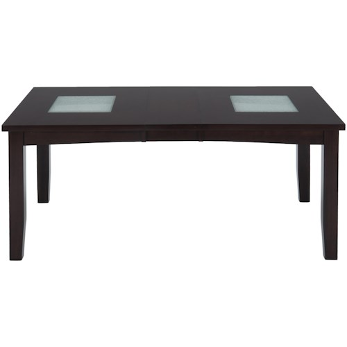 Jofran Chadwick Espresso Rectangle Extension Table with Crackled Glass Inserts