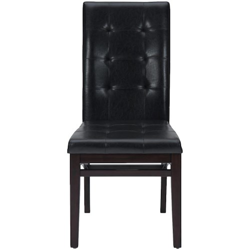 Jofran Chadwick Espresso Tufted Parson Chair with Shaped Stretchers