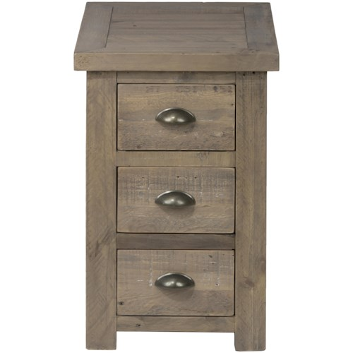 Jofran Slater Mill Pine Chairside Table made of Reclaimed Pine