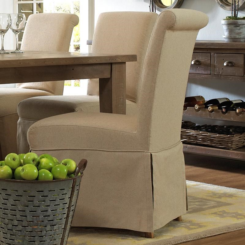 slater mill pine slipcover skirted parson chair with linen look belfort furniture dining side chairs