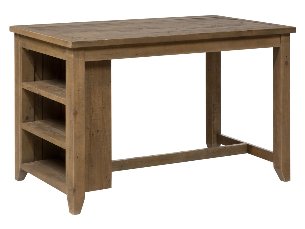 Jofran Slater Mill Pine 941 60 Counter Height Table With 3 Shelf