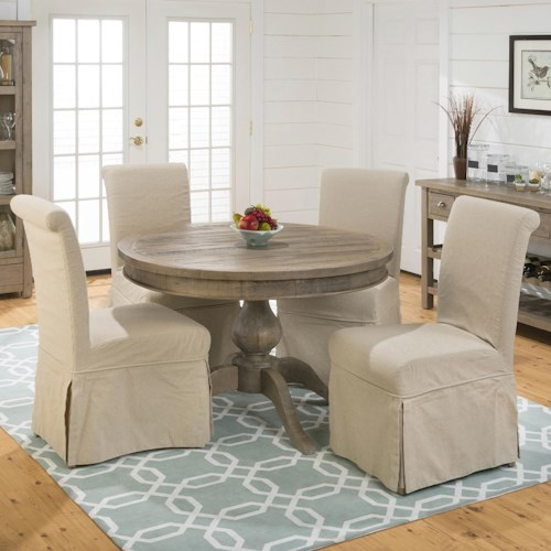 Jofran Slater Mill Pine Slipcover Chairs and Round Table Set