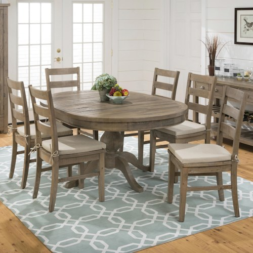 Jofran Bancroft Mills Oval Table and Ladderback Chair Set