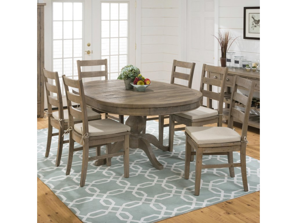 Jofran Slater Mill PineRound to Oval Dining Table