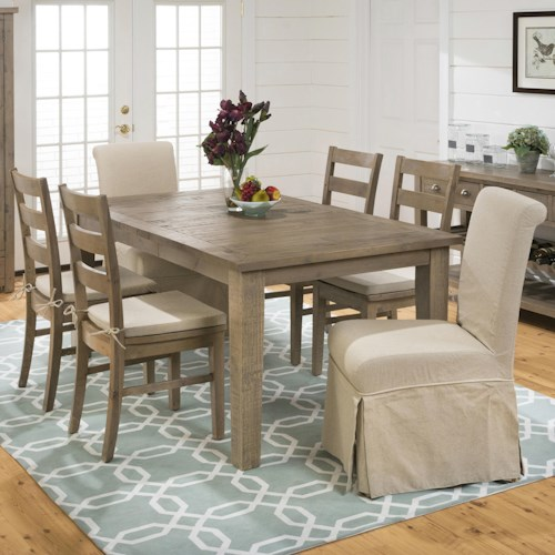 Jofran Slater Mill Pine Rectangular Table Ladderback Chair And Slipcover Skirted Parson Set