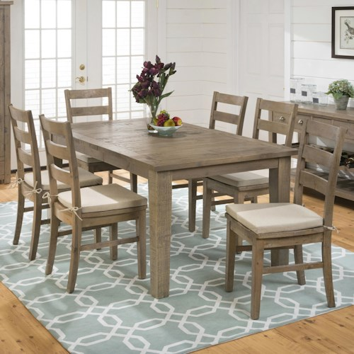 Jofran Bancroft Mills Rectangular Dining Table and Ladderback Chair Set