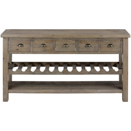 Jofran Slater Mill Pine Wine Rack and Server with Drawers and Shelf