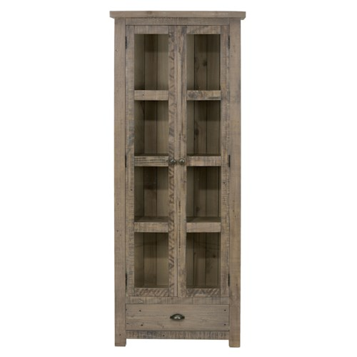 Jofran Slater Mill Pine Tall Kitchen or Dining Room Display Cupboard