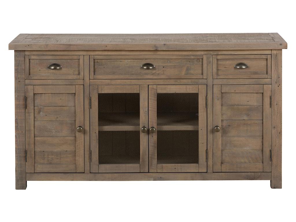 "Jofran Slater Mill Pine 60"" Reclaimed Wood Media Unit for TV - Old Brick  Furniture - TV Stands - Jofran Slater Mill Pine 60"" Reclaimed Wood Media Unit For TV - Old"