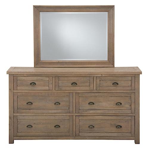 Jofran Slater Mill Pine Dresser and Mirror Set